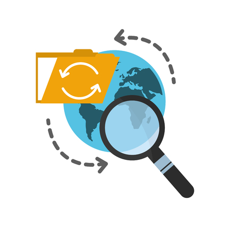folder with planet earth and magnifying glass vector illustration design