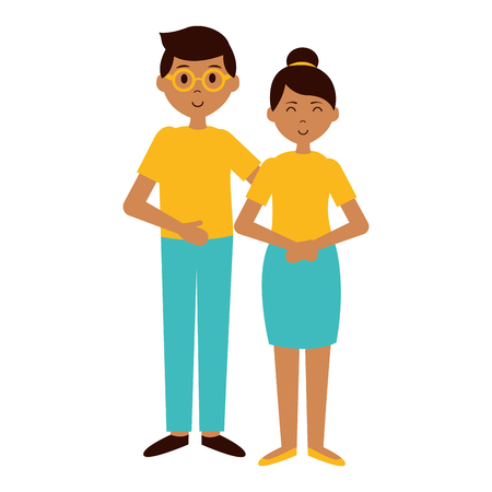 teenagers girl and boy characters vector illustration