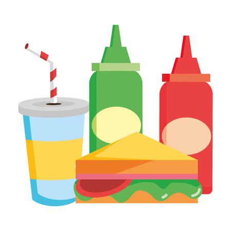 sandwich soda sauces food vector illustration design