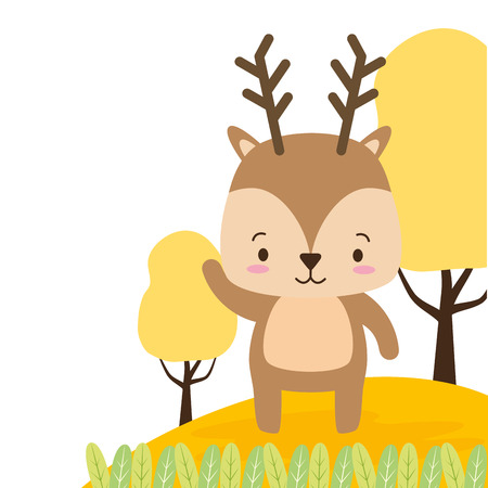 cute deer animal cartoon vector illustration design image Stock Vector - 122996596