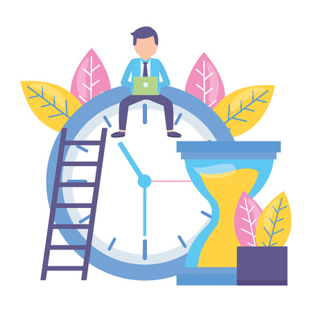 businessman with laptop sitting on clock hourglass time vector illustration Illustration