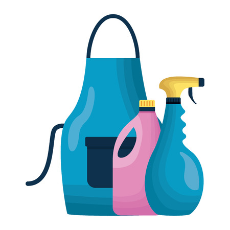 apron spray and detergent spring cleaning tools vector illustration 스톡 콘텐츠 - 121477767