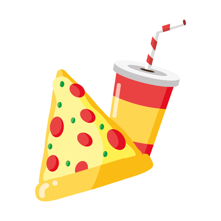 pizza and cola fast food white background vector illustration Foto de archivo - 122996794