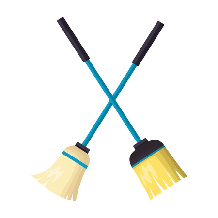 broom and mop spring cleaning tools vector illustration