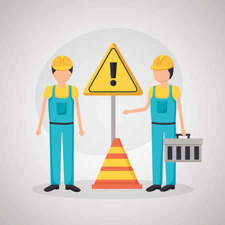 construction worker traffic caution sign cone vector illustration Foto de archivo - 123002357