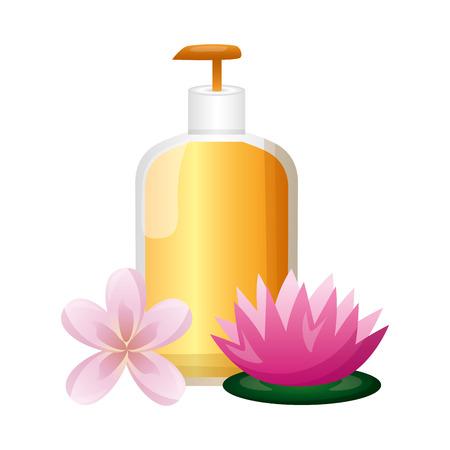 lotion dispenser flowers spa treatment therapy vector illustration 版權商用圖片 - 123002406