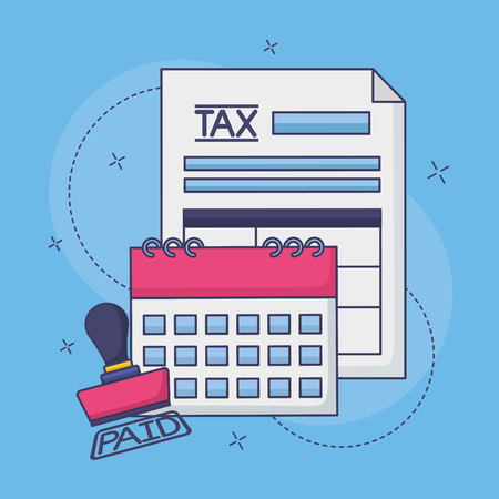 tax payment document calendar invoice paid stamp magnifier vector illustration