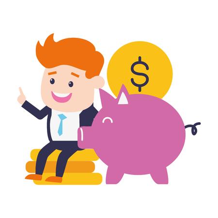 Geschäftsmann Sparschwein Münzen Online-Banking-Vektor-Illustration Vektorgrafik