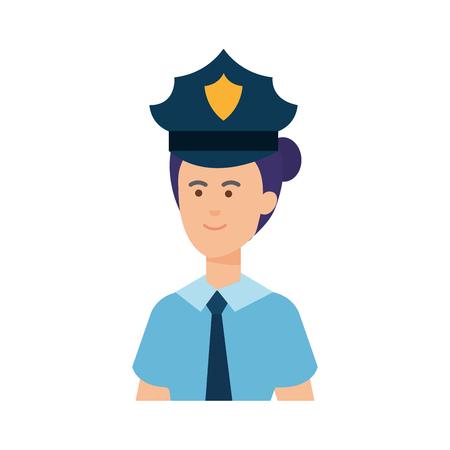 female police officer avatar character vector illustration design