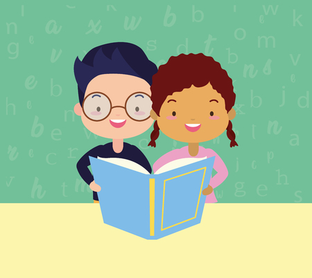 boy and girl with textbook - kids world book day vector illustration Illustration