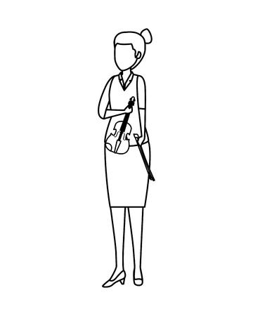 female professional violinist character vector illustration design