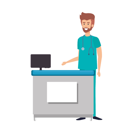 professional surgeon doctor in the office vector illustration design