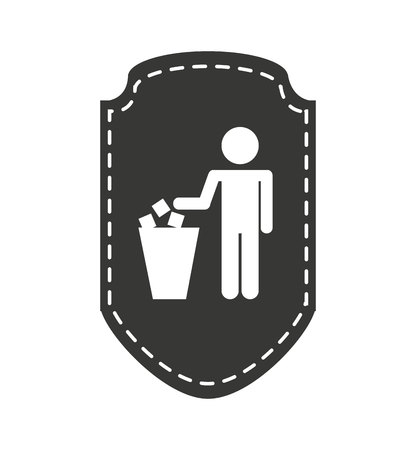 person silhouette with garbage bin vector illustration design