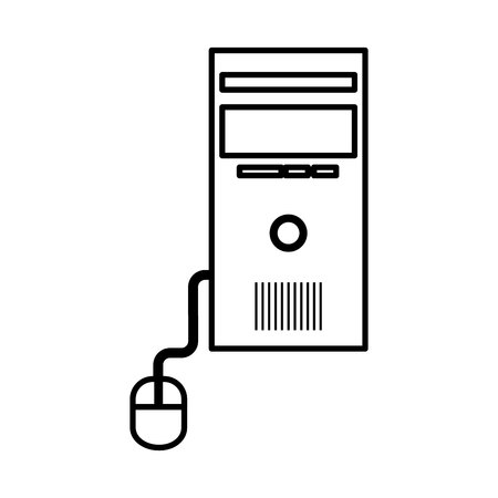 computer desktop cpu with mouse isolated icon vector illustration design