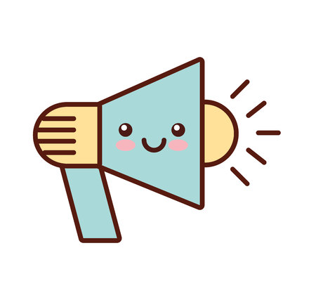 megaphone kawaii style flat line icon vector illustration design