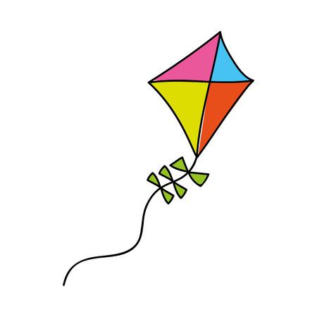 Diseño lindo del ejemplo del vector del icono aislado del vuelo de la cometa