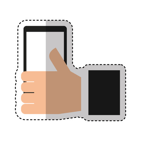 hand human with smartphone icon vector illustration design