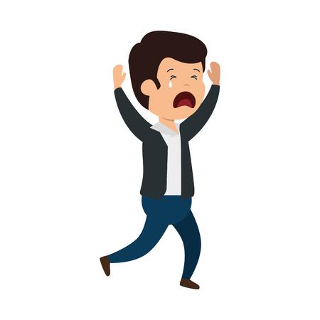 young sad man crying character vector illustration design
