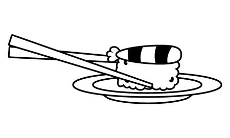 sushi et bâtons conception d'illustration vectorielle alimentaire Vecteurs