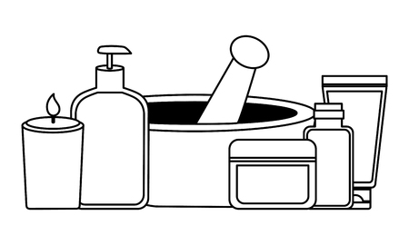 aromatherapy products care skin spa treatment therapy vector illustration Illustration