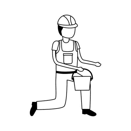 helmet and traffic cone tool construction equipment vector illustration Illustration