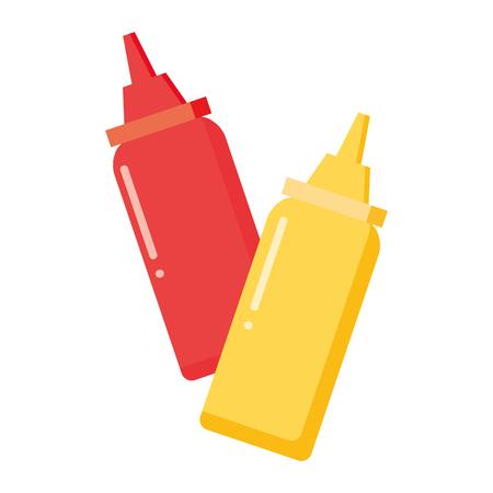 bottles sauce ketchup and mustard vector illustration Иллюстрация