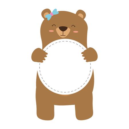 mom bear with badge blank background vector illustration Vecteurs
