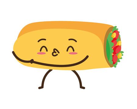 kawaii burrito fast food cartoon vector illustration Vector Illustration