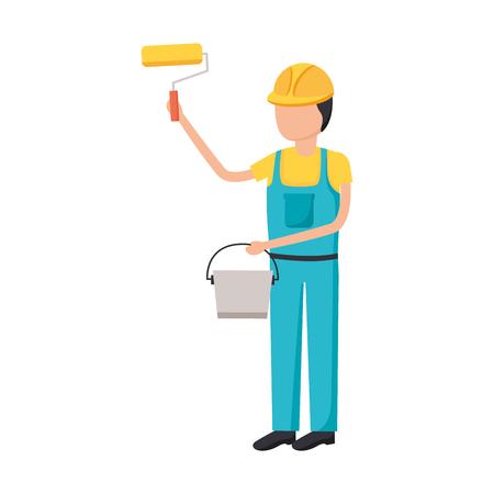 worker construction tool roller bucket vector illustration design Illustration