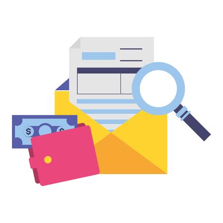 Document de paiement d'impôts portefeuille argent loupe vector illustration