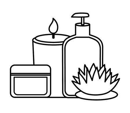 skin products care candle flower spa treatment therapy vector illustration Banco de Imagens - 122946620