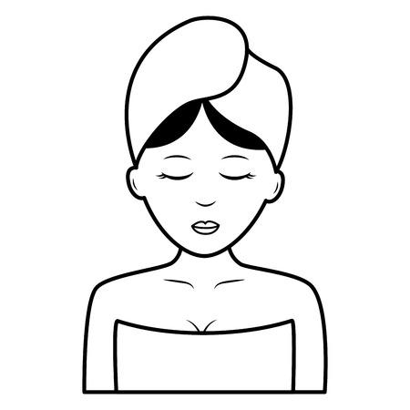 woman with towel health spa vector illustration Çizim