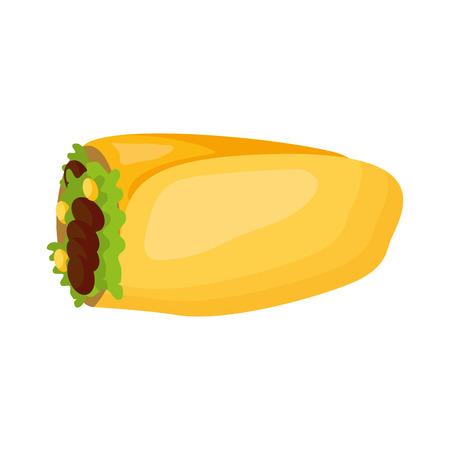 mexican burrito snack icon white background vector illustration