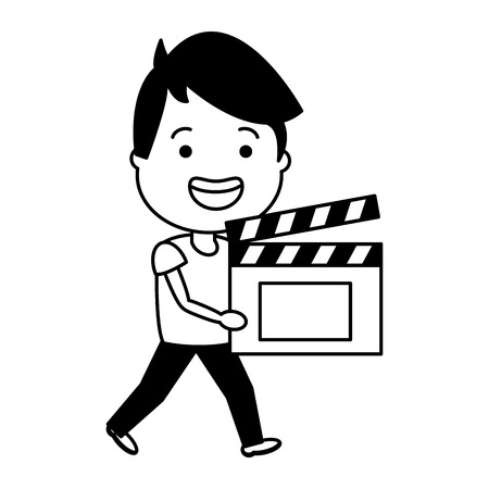 man with clapperboard avatar character vector illustration desing Illustration