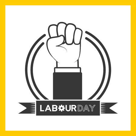 happy labour day hand raised label vector illustration Ilustração