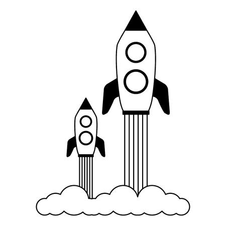 launch rockets spaceship on white background vector illustration Ilustração