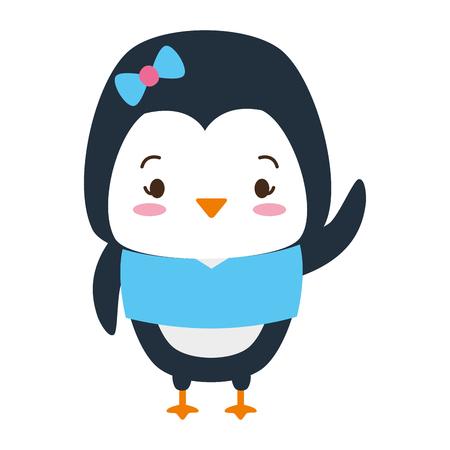 cute penguin animal cartoon vector illustration design