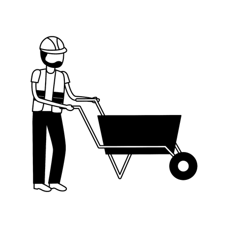 worker with wheelbarrow construction tool vector illustration design Foto de archivo - 121494449