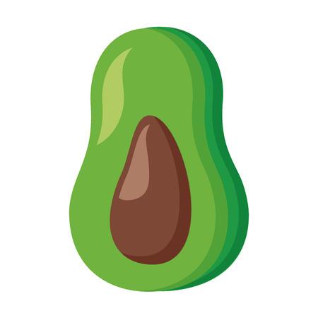 avocado fruit fresh on white background vector illustration Çizim