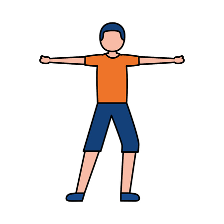 young man training sport activity vector illustration  イラスト・ベクター素材