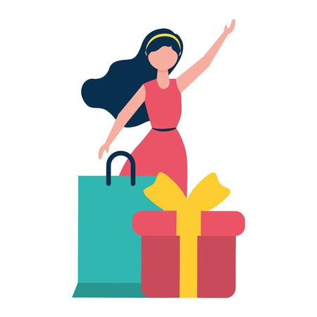 woman shopping bag and gift vector illustration Stock Vector - 122946720