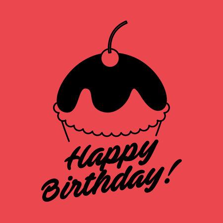 happy birthday celebration card with cupcake vector illustration design Stock Illustratie