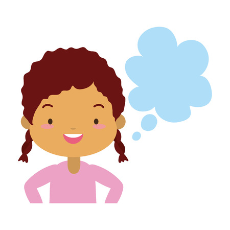 school girl speech bubble white background vector illustration Illustration