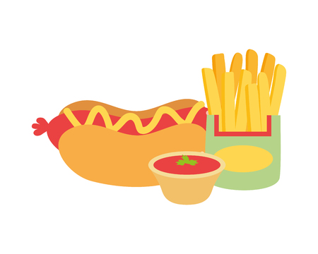 hot dog french fries sauce fast food vector illustration Stock fotó - 122946755