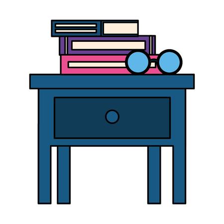 books on bedside table icon vector illustration design