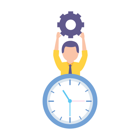 businessman holding gear clock time work vector illustration Archivio Fotografico - 122946769