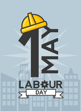 happy labor day 1 may date helmet icon vector illustration