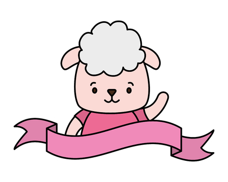 cute sheep face cartoon vector illustration design  イラスト・ベクター素材