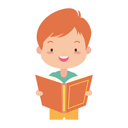 boy holding textbook - world book day vector illustration Standard-Bild - 122946839