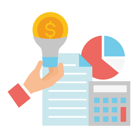 hand with bulb money calculator online payment vector illustration